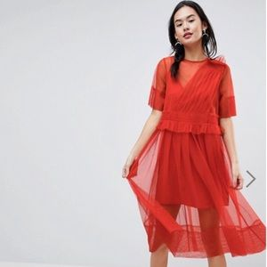 Vibrant Red Tulle 2 Layer Dress